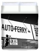 Balboa Island Ferry Sign Black And White Picture Duvet Cover by Paul Velgos