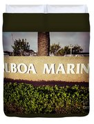 Balboa Marina Sign Newport Beach Picture Duvet Cover by Paul Velgos