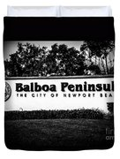 Balboa Peninsula Sign For City Of Newport Beach California Duvet Cover