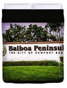 Balboa Peninsula Sign For City Of Newport Beach Picture Duvet Cover