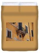 Balcony Piazza Della Madallena In Roma Duvet Cover