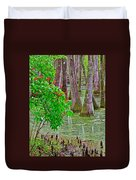 Bald Cypress And Red Buckeye Tree At Mile 122 Of Natchez Trace Parkway-mississippi Duvet Cover