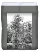 Bald Cypress Swamp In Black And White Duvet Cover