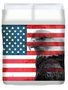 Bald Eagle American Flag Duvet Cover