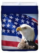 Bald Eagle And American Flag Duvet Cover