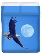 Bald Eagle And Full Moon Duvet Cover