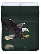 Bald Eagle Catching Fish Duvet Cover by John Hyde