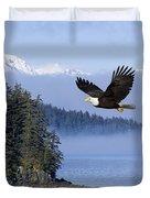 Bald Eagle In Flight Over The Inside Duvet Cover