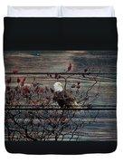 Bald Eagle On Barnwood Duvet Cover