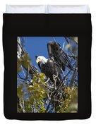 Bald Eagle On Nest Near The Oxbow Duvet Cover