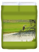 Bald Eagle Overlooking Yellowstone River Duvet Cover