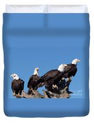 Bald Eagles Quartet Duvet Cover