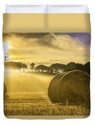Bales In The Morning Mist Duvet Cover