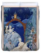 Ball Under The Blue Moon Duvet Cover by Georges Barbier