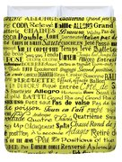 Ballet Terms Black On Yellow Duvet Cover