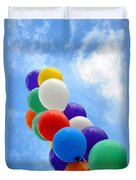 Balloons Against A Cloudy Sky Duvet Cover