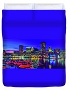Baltimore Harbor By Night, Baltimore Duvet Cover