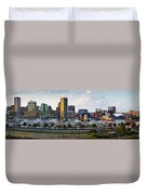 Baltimore Harbor Skyline Panorama Duvet Cover
