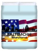 Baltimore Md Patriotic Large Cityscape Duvet Cover