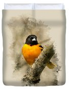 Baltimore Oriole Watercolor Art Duvet Cover