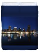 Baltimore Skyline At Dusk On The Inner Harbor Duvet Cover