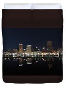 Baltimore Skyline At Night Duvet Cover