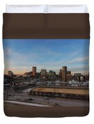 Baltimore Skyline At Sunset From Federal Hill Duvet Cover