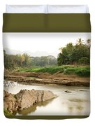 Bamboo Bridge At The Tip Of The Luang Duvet Cover