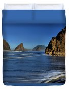 Bandon Sea Stacks In The Surf Duvet Cover by Adam Jewell