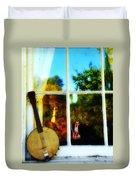 Banjo Mandolin In The Window Duvet Cover