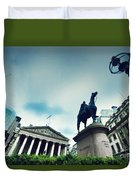 Bank Of England The Royal Exchange And The Wellington Statue Londonuk Duvet Cover
