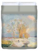 Banks Of The Seine And Vernon In Winter Duvet Cover by Albert Charles Lebourg