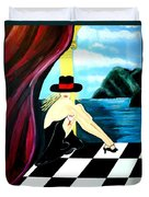 Bar Scene Lady With Hat By The Water Duvet Cover
