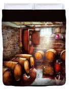 Bar - Wine - The Wine Cellar  Duvet Cover by Mike Savad