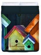 Barbara's Birdhouses Duvet Cover