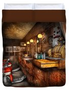Barber - Closed On Sundays Duvet Cover by Mike Savad