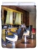Barber - Small Town Barber Shop Duvet Cover