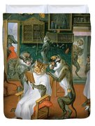 Barbers Shop With Monkeys And Cats Oil On Copper Duvet Cover