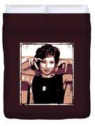 Barbra Streisand - Brown Pop Art Duvet Cover
