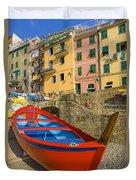 Barca Rossa A Rio Maggiore Duvet Cover