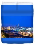 Barcelona And Its Skyline At Night Duvet Cover