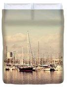 Barcelona Harbor - Vertical Duvet Cover