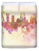 Barcelona Skyline In Watercolour Background  Duvet Cover