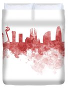 Barcelona Skyline In Watercolour On White Background Duvet Cover