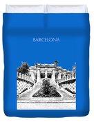 Barcelona Skyline Park Guell - Blue Duvet Cover