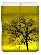 Bare Tree Against Yellow Background E88 Duvet Cover