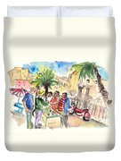 Bargaining Tourists In Siracusa Duvet Cover
