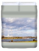 Barges On River Rhine At Duisburg Germany Europe Duvet Cover
