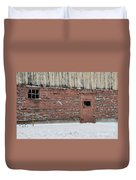Barn Door In Winter Duvet Cover