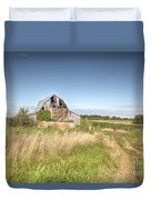 Barn In A Field With Hay Bales Duvet Cover